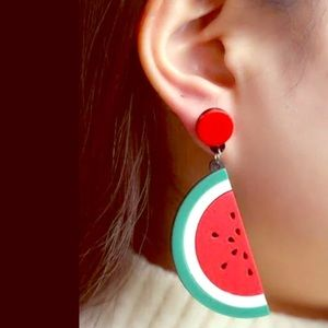 Acrylic Watermelon Dangle Earrings